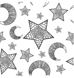 pattern with black moon and stars vector image
