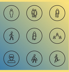 person icons line style set with lover walking vector image