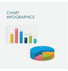 pie circle chart bar chart infographics 3d vector image