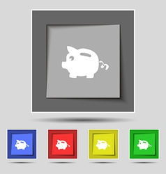 Piggy bank icon sign on original five colored vector