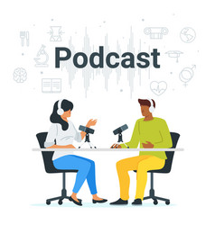 Podcast in studio flat vector