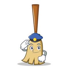 police broom character cartoon style vector image