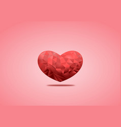polygonal red hearts on red background for vector image