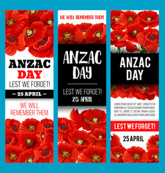 Poppy flower banner for anzac remembrance day vector