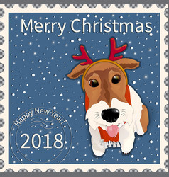 postage stamp with the fox terrier 1 vector image