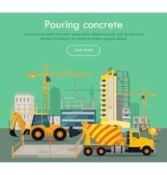 Pouring Concrete Conceptual Flat Web Banner vector