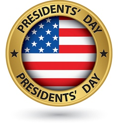 Presidents day gold label with USA flag vector