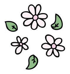 Quirky hand drawn cartoon flowers vector