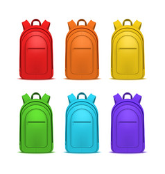 realistic detailed 3d color blank school backpacks vector image