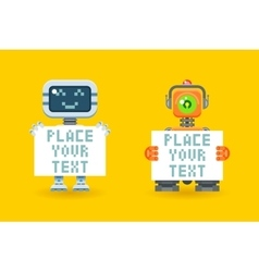 Robots with blank paper place for your text vector image