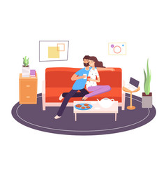 romantic couple in room girlfriend and boyfriend vector image