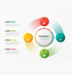 rotating circle chart template infographic design vector image
