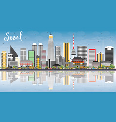 Seoul korea skyline with color buildings blue sky vector