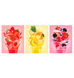 set labels with fruit in juice splashes vector image