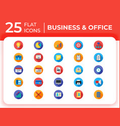 set of 25 business modern flat icons vector image