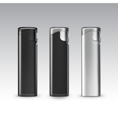 Set of Blank Black Plastic Metal Lighters vector