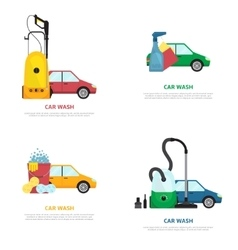 Set of labels on car wash theme in flat style vector