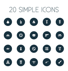 Set of simple war icons vector