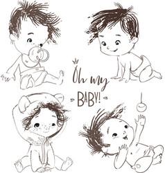 Set with cartoon little baby boy vector