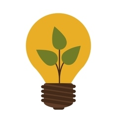 Silhouette contour bulb with leaf inside vector