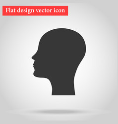 silhouette head and face bald man icon flat vector image