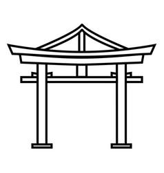 Single black outline shinto torii gate icon vector