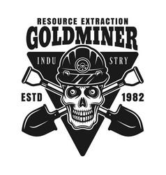skull goldminer in helmet and shovels vector image