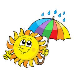 Smiling sun with umbrella vector