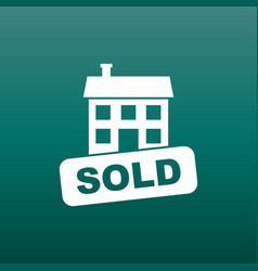 Sold house icon in flat style on green background vector