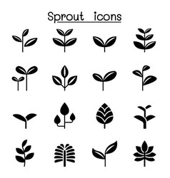 sprout plant treetop leaf icon set graphic design vector image