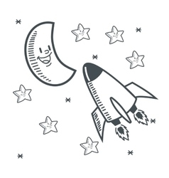 stars moon space sketch design vector image