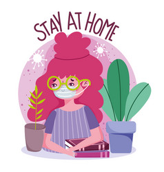 Stay at home young woman with mask and books vector