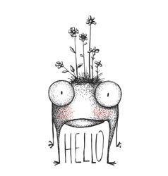 Strange hand drawn monster with flowers greeting vector