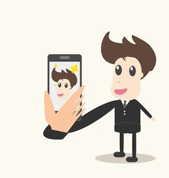 Taking a photo with mobile phone vector image vector image