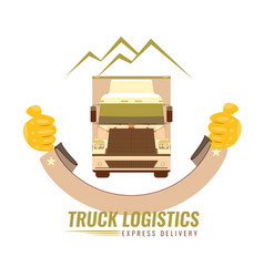 The old vintage logo for trucking company with the vector