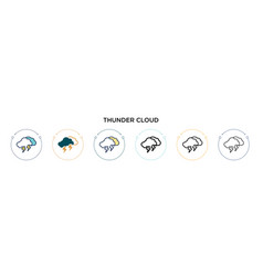 thunder cloud icon in filled thin line outline vector image