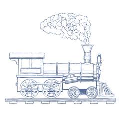 vintage steam locomotive logo design vector image
