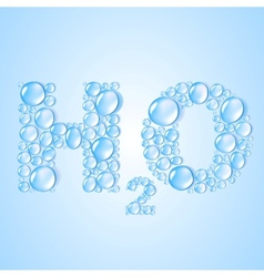 water drops H2O shaped - background vector image