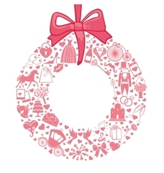 Wedding wreath of flat icons setPink vector
