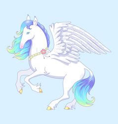 white pegasus vector image