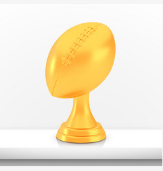 winner american football cup award golden trophy vector image