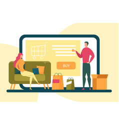woman sit on couch buy online from home banner vector image