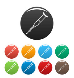 wood crutch icons set color vector image