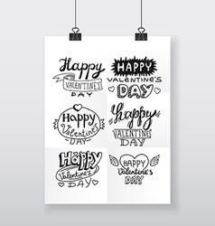 beautiful hand-drawn poster Valentines day vector image