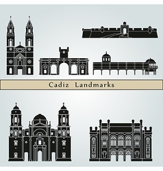 Cadiz landmarks and monuments vector image vector image