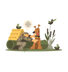 cynologist training hunting dog vector image