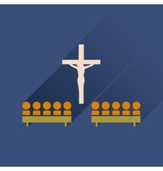 Flat icon with long shadow People in church vector image vector image