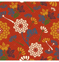 Oriental flowers seamless pattern vector image
