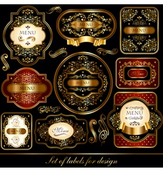 set of black-golden elegance labels vector image