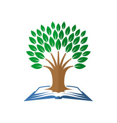 tree of knowledge logo open book and tree vector image